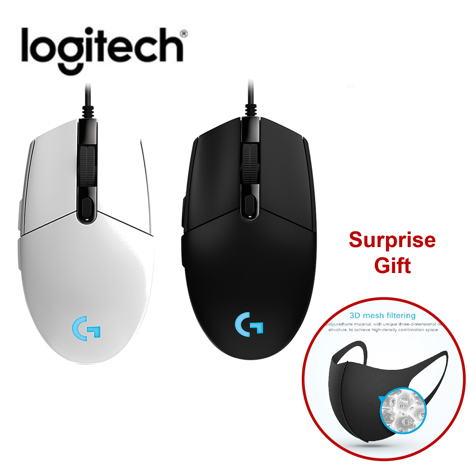 Logitech G102 Gaming Mouse Programmable Buttons 6000DPI RGB Wired Mouse Computer Peripheral Accessories (Surprise Gift 1pc Mask) title=