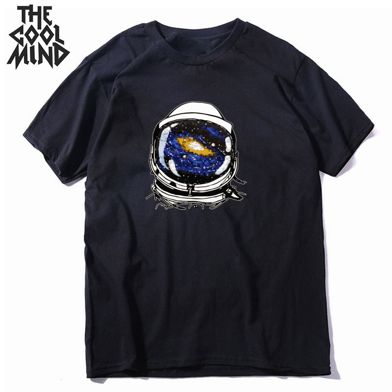 COOL MIND 100% cotton o-neck cool space print men T shirt causl loost men tshirt summer t-shirt mens tee shirts CR-c0107