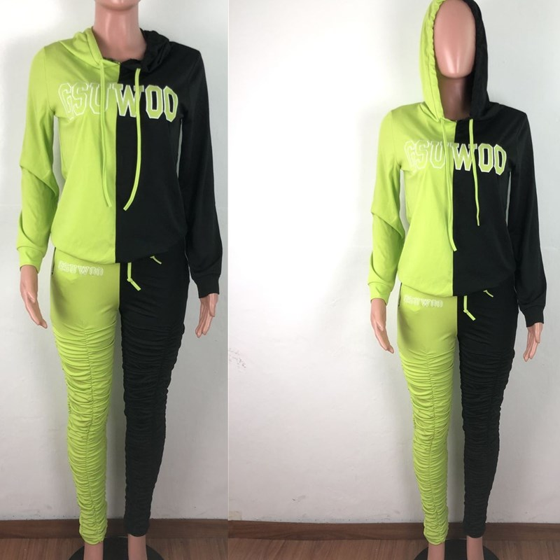 Wuhaobo New Patchwork Color Women 2-piece Set 2020 Fashion Letter Embroidery Hooded Sweatshirts And Pleated Pants Sportswear Set