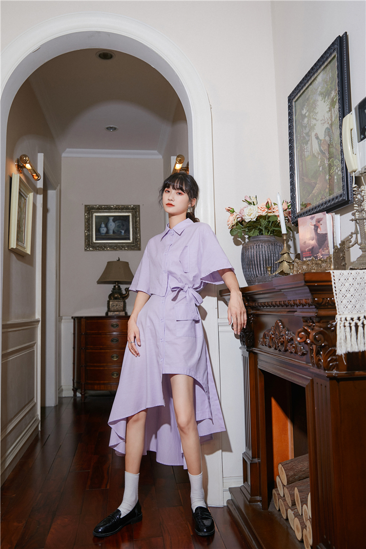 H9e2a1e8eadca49abaf99ade2592aa7can - Summer Korean Turn-Down Collar Short Sleeves Buttons Lace-Up Asymmetrical Long Shirt Dress