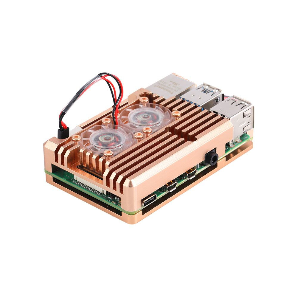 Latest CNC Aluminum Alloy Case Enclosure w// Cooling Fan for Raspberry Pi 4B 2019