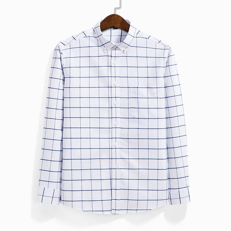 Men Oxford Casual Shirt Long Sleeve Slim Fit Comfortable Plaid Shirt 100% Cotton Mens Dress Shirts Brand Clothing Male