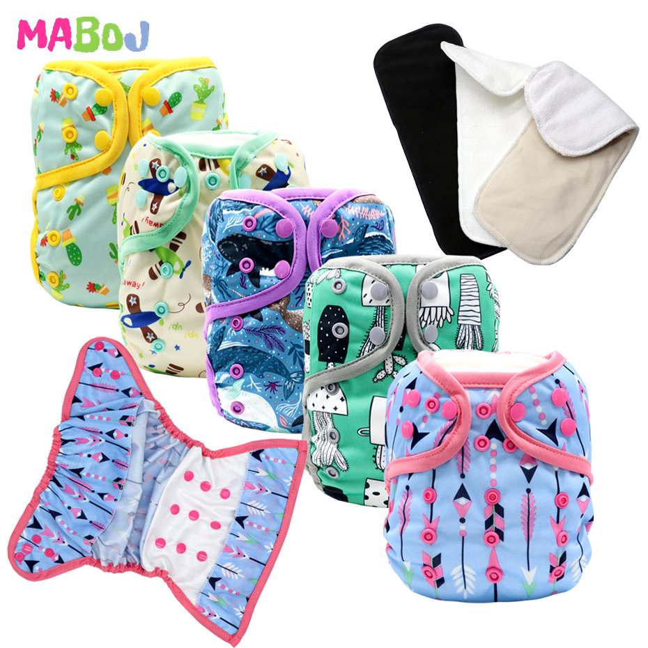 MABOJ Cloth Diapers Baby Waterproof Resuable One Size Newborn Nappy Cloth Diaper Cover One Size fit 7-40lbs Baby Wholesale New
