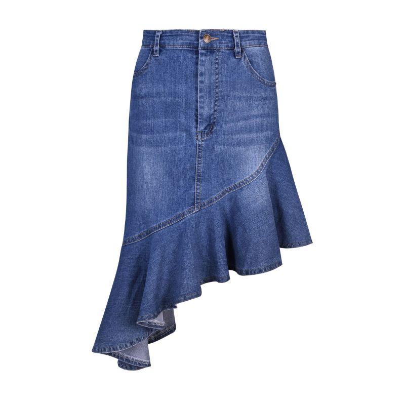 Vogue Women Fashion Ruffled Irregular Denim Skirts Summer High Waist Denim Knee-length Woman Sexy Evening Party Mujer Skrits