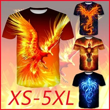 Bird T-Shirt Fire-Phoenix 3d-Printed Casual Short-Sleeves Fashion Tops Black O-Neck Size-Xs-5xl