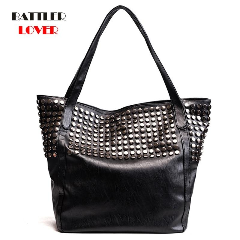 2020 Winter Luxury Handbags Women Totes Designer Black Chains Bucket Shoulder Bag Ladies Casual Punk Style Rivet Messenger Bags