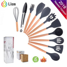 Cooking-Utensils-Sets Kit-Accessories Spatula Wooden-Handle Kitchen-Tools Silicone Nonstick