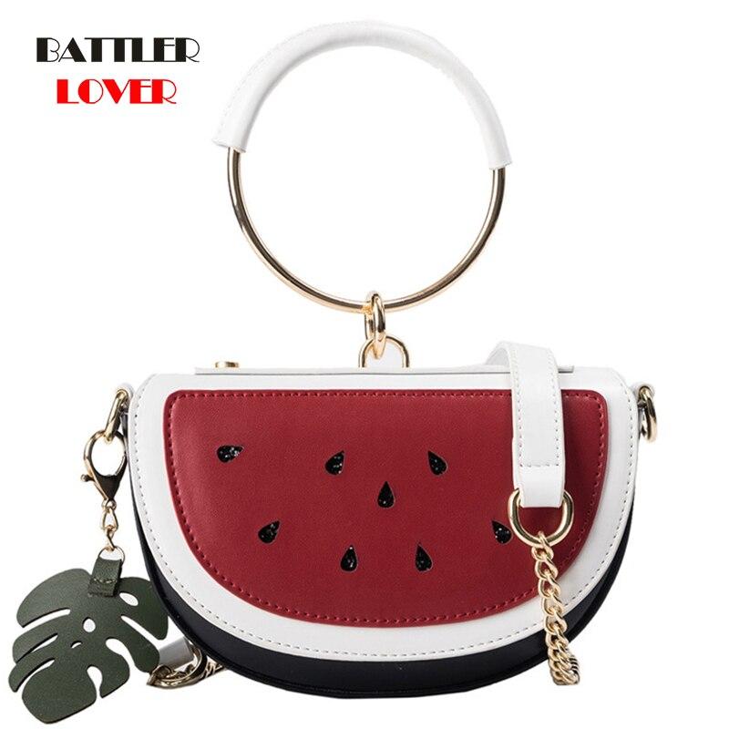 2019 Summer New Female Bag PU Leather Women Bag Cute Fruit Packet Chain Shoulder Messenger Bag Lemon Watermelon Bag Ring Handle