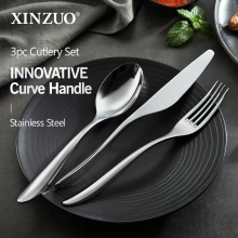 XINZUO 3pcs/lot Food Cutlery Stainless Steel Table Knife Spoon Fork Dinner Set Dinnerware Tableware Sets