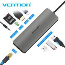 USB концентратор VEnTIO все в одном USB-C HDMI VGA кардридер RJ45 PD адаптер для MacBook Samsung Galaxy S8 Mate 10 Type C концентратор USB 3,0(China)