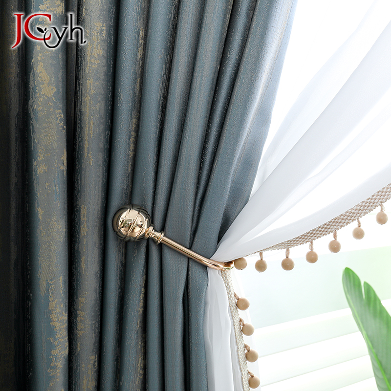 JCyh Top Luxury Blue Curtains For Living Room European Style Window Curtains For Bedroom Rideaux Drapes Gordijnen Drapes Firany title=