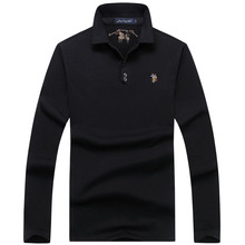 Men's Polo Shirts Long-Sleeve High-Quality Embroidery Breathable Casual Cotton Solid