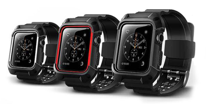 rugged shockproof apple watch band and case