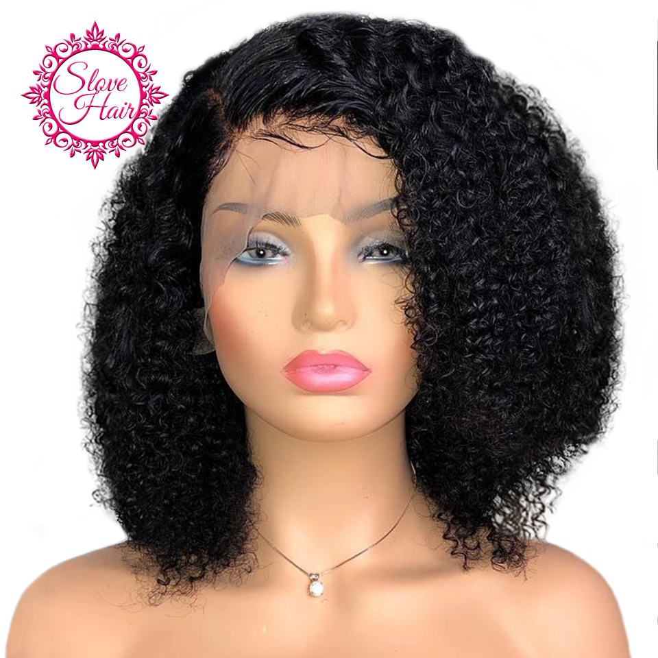 Curly Wig 130% Density Short Bob 13x4 Lace Front Human Hair Wigs Remy Brazilian Hair For Black Women Pre Plucked Middle Ratio