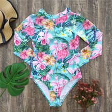 One-Piece Swimsuit Monokini Long-Sleeves Beach-Wear Push-Up Sexy Summer New Women