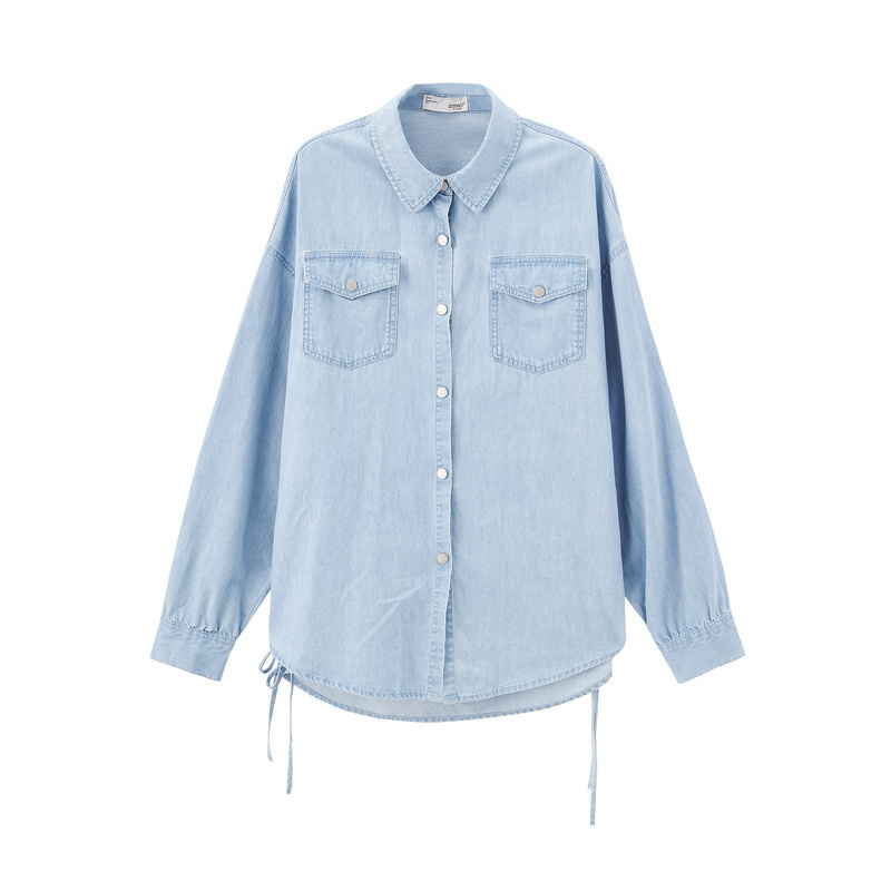 INMAN 2020 Spring New Arrival 100%Cotton Turn Down Collar Lacing Long Sleeve Women Jeans Shirt