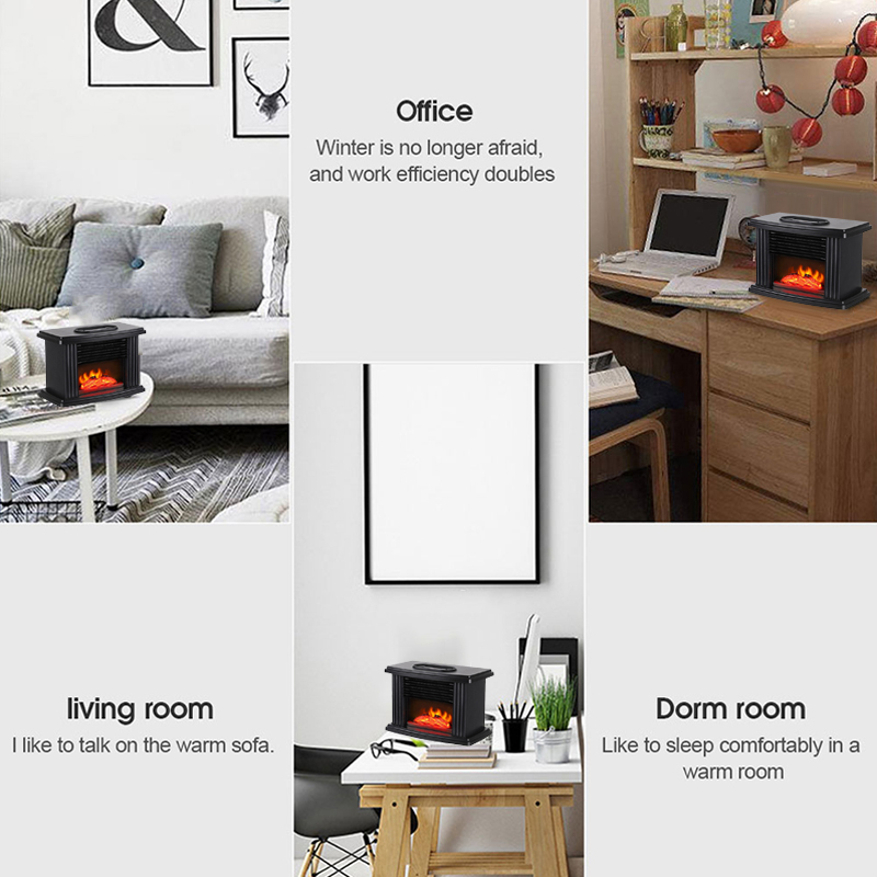 1000W Freestand Electric Fireplace Stove Heater LED Flame Effect Remote Control