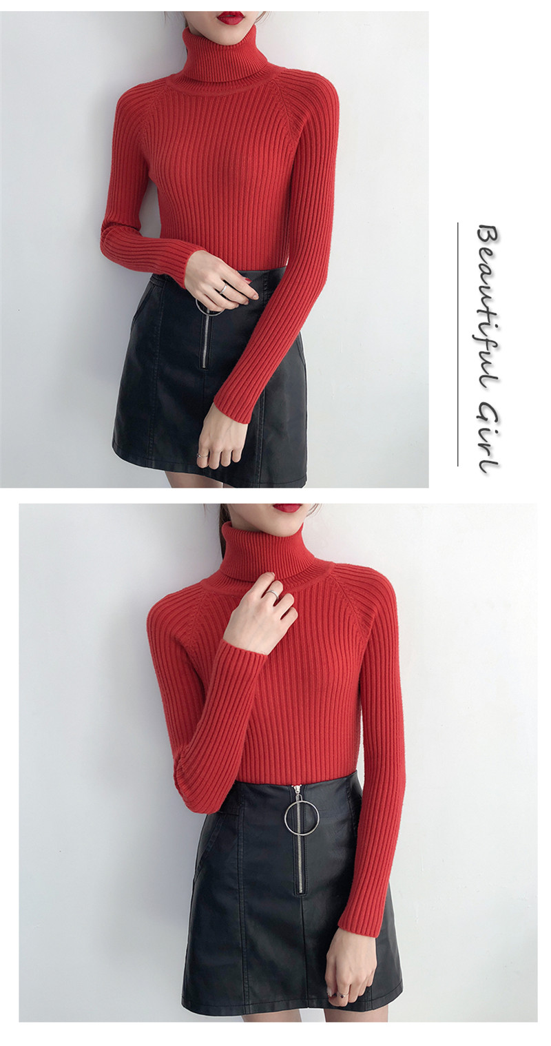 19 Women Sweater casual solid turtleneck female pullover full sleeve warm soft spring autumn winter knitted cotton 16
