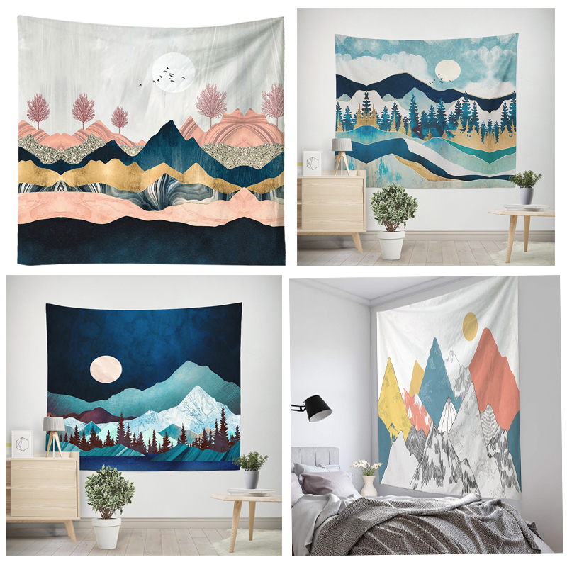 Sun and Moon Tapestry Wall Hanging Hippie Witchcraft Tapiz Psychedelic Farmhouse Decoration Tenture Tapisserie Beach Bohemian Cu