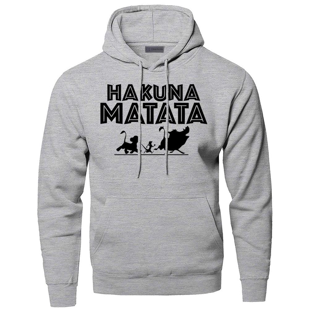 The Lion King Hakuna Matata Hoodies Sweatshirts Men Simba Pumbaa Timon Hooded Hoodie 2019 Winter Autumn Movie Cartoon Sportswear