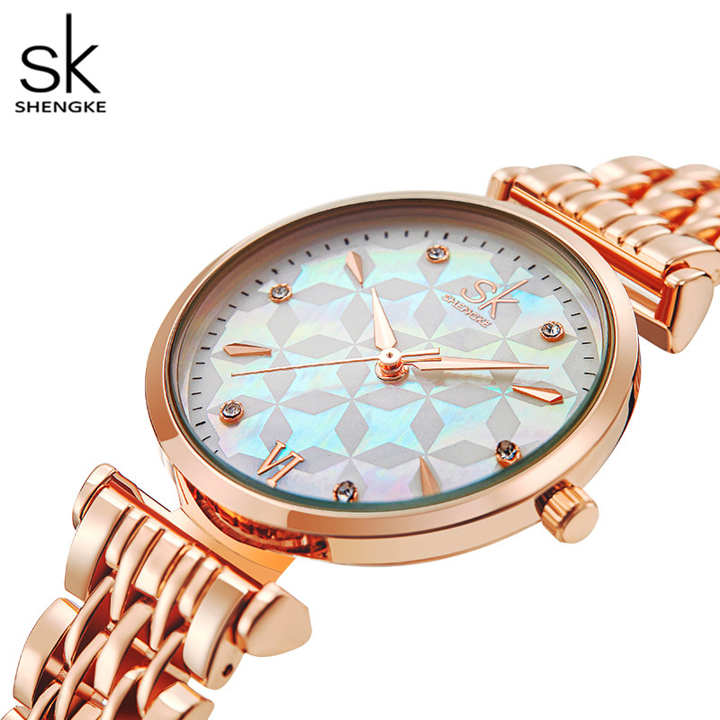 Shengke Brand Luxury Bracelet Women Watch Rosegold Wristwatch Gift for Women Original Design Watch Reloj Mujer