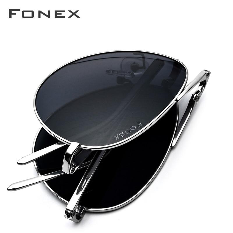 Поляризованные мужские солнцезащитные очки FONEX, мужские классические складные солнцезащитные очки-авиаторы из чистого титана, высококачественные мужские солнцезащитные очки 838