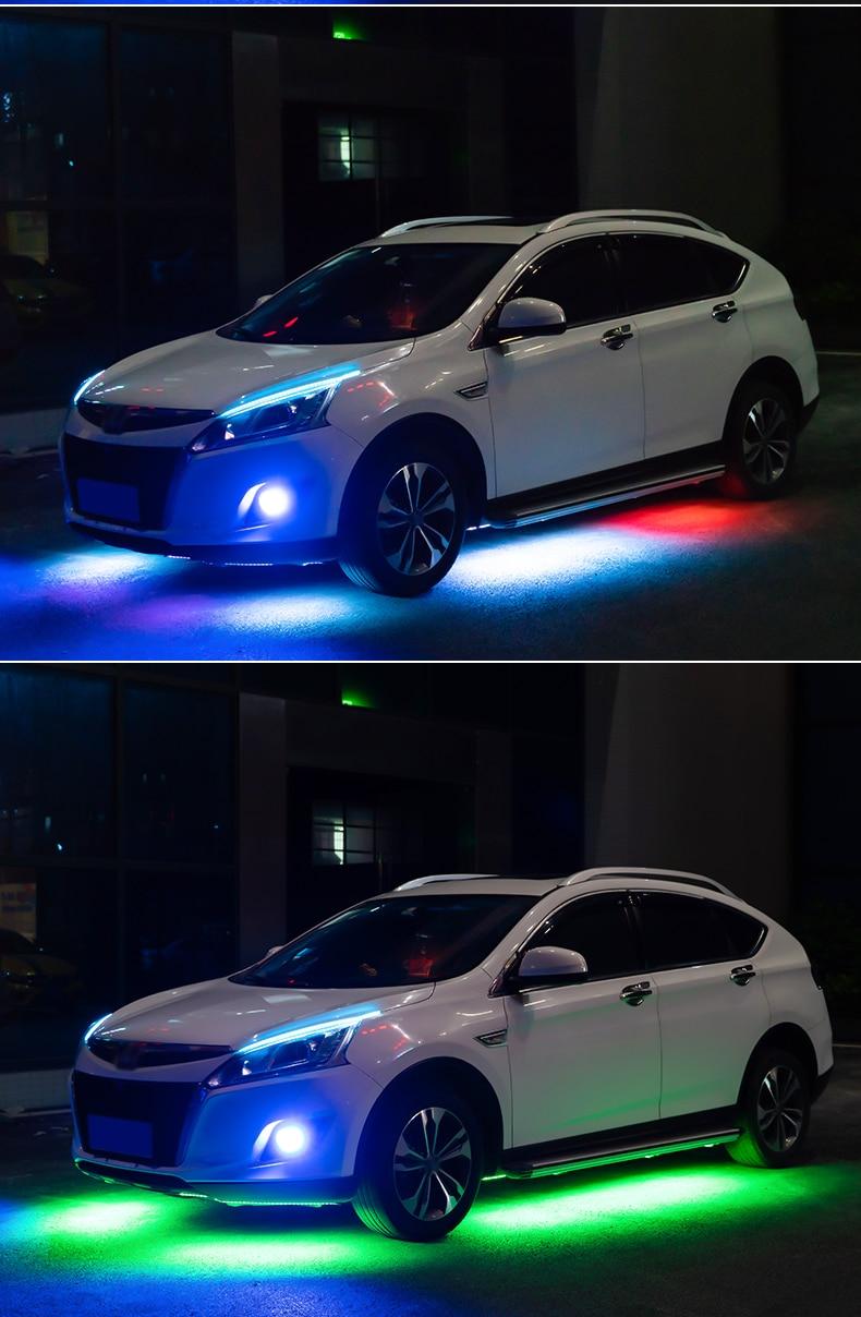 Niscarada RGB Multicolor Flexible Flowing Car LED Light Underglow Underbody