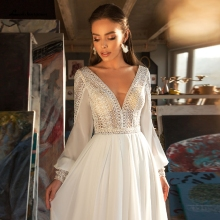 Lakshmigown Puffy Long Sleeve Dress Women Boho Wedding Dresses 2021 Vestido Sexy Bridal Wedding Gown V-Neck Backless Lace Bodice