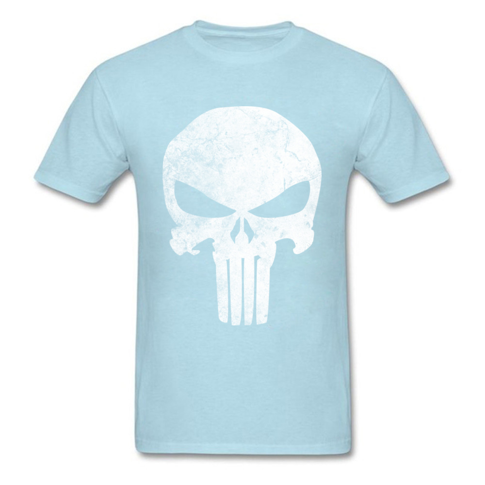 Slim Fit Men T-Shirt Punisher_Skull_Grunge_97 Print T Shirt Cotton Short Sleeve Printed On Tee-Shirt Crewneck Free Shipping Punisher_Skull_Grunge_97 light