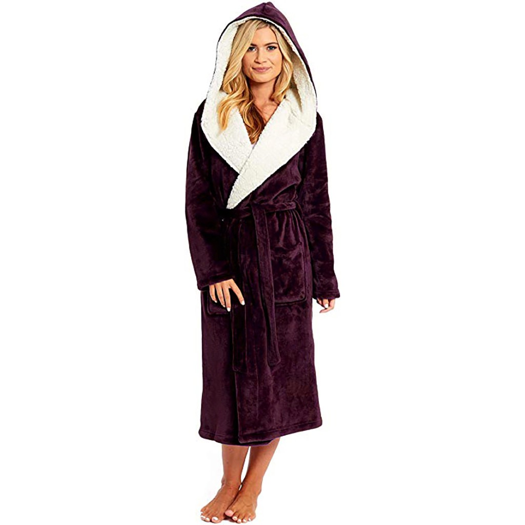 JAYCOSIN Sleepwear Bathrobe Shawl Flannel Plush Winter Women's Lengthen Solid Warm Thick title=