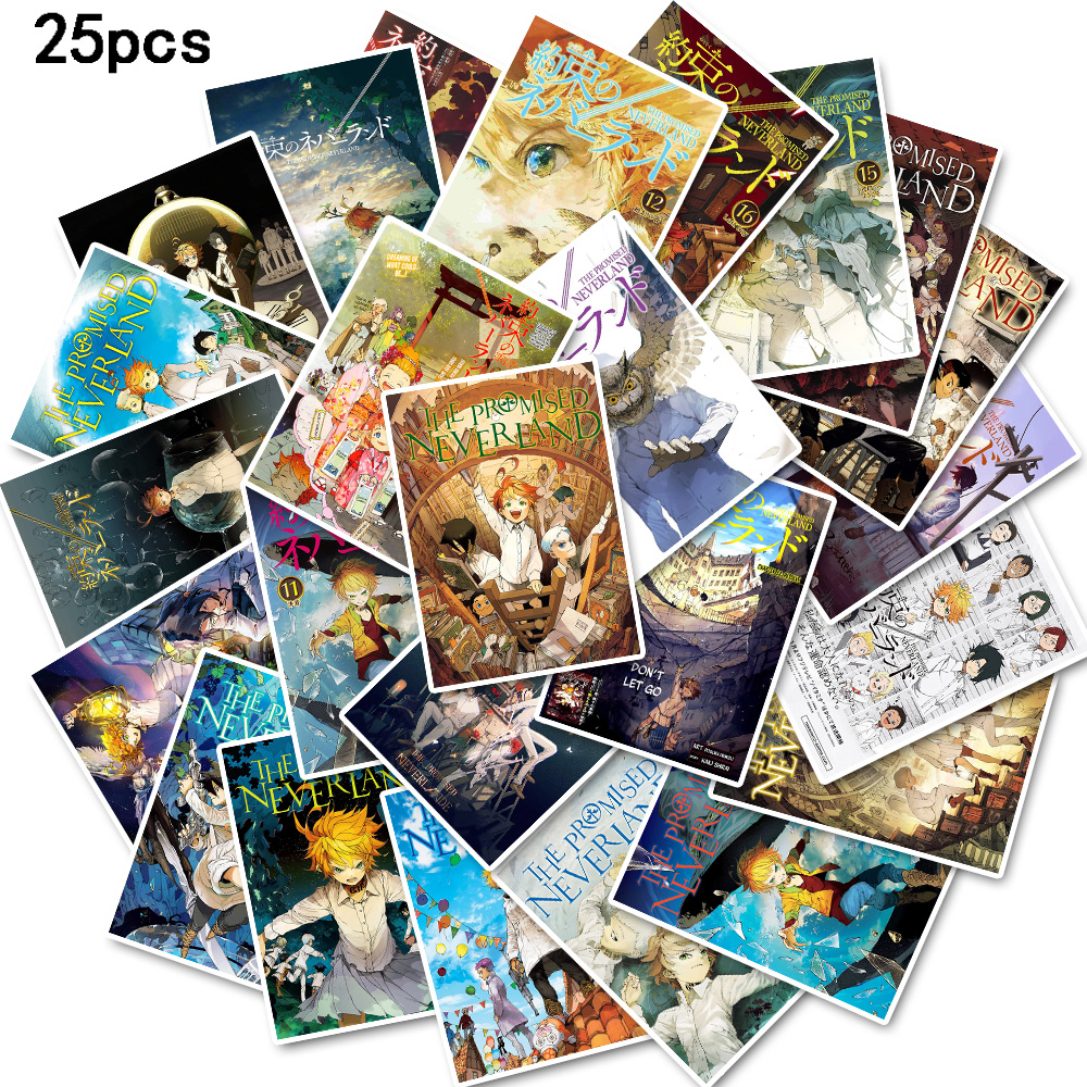 25pcs The Promised Neverland poster stickers waterproof Used to decorate water cup skateboard refrigerator laptop suitcase etc.