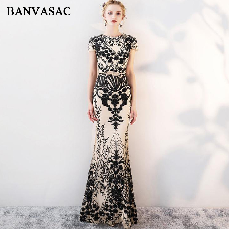 BANVASAC Vintage O Neck 2019 Mermaid Sequined Appliques Long Evening Dresses Short Cap Sleeve Leaf Sash Party Prom Gowns(China)