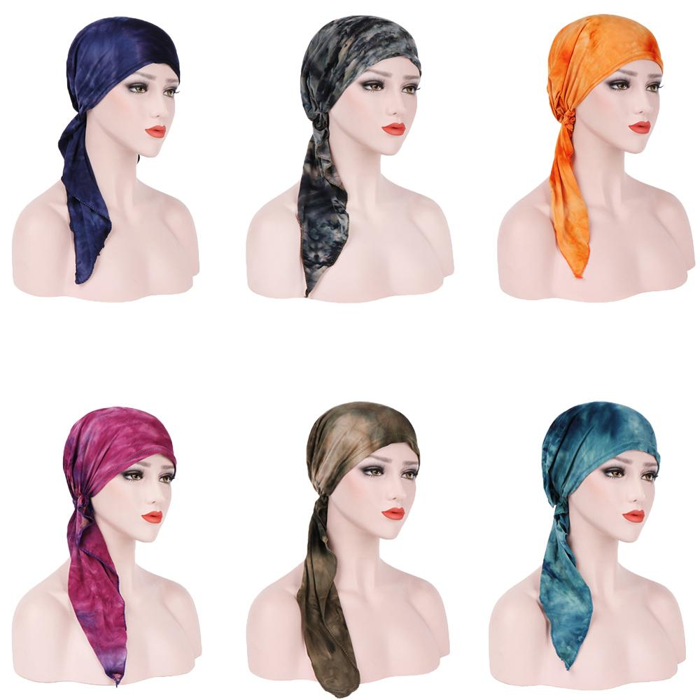 Muslim Women Long Tail Hijab Floral Headscarf HeadWrap Stretch Turban  Chemo Cap