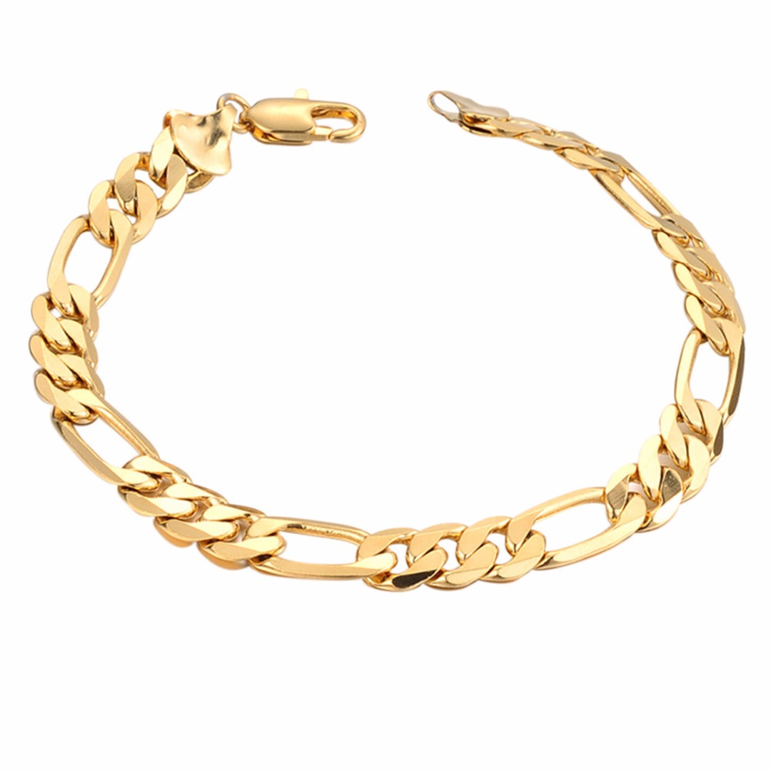Men/'s Punk Gold Plated 8mm Chain Link Bracelet Noble Wedding Bracelet Bangle