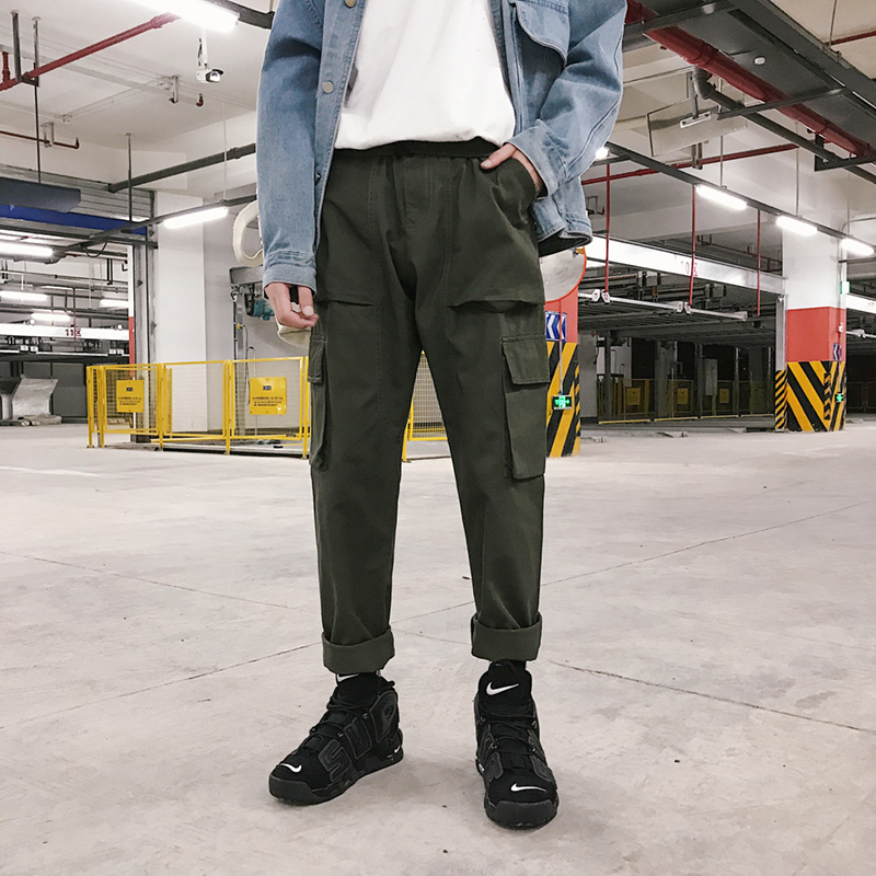 2018 Autumn And Winter New Overalls Tide Men's Casual Pants INS Solid Color Straight Pants Tide Black / Military Green M-2XL
