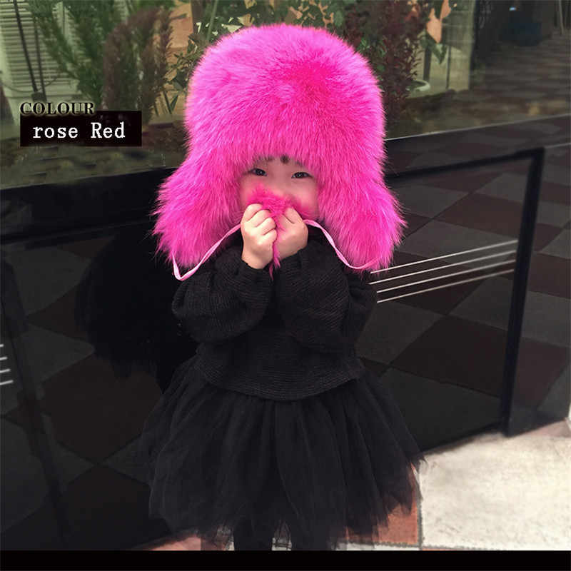Moda rusa piel de zorro Real niños otoño invierno Niño niñas cálido  encantador niños bebé sombrero 0f609e20691