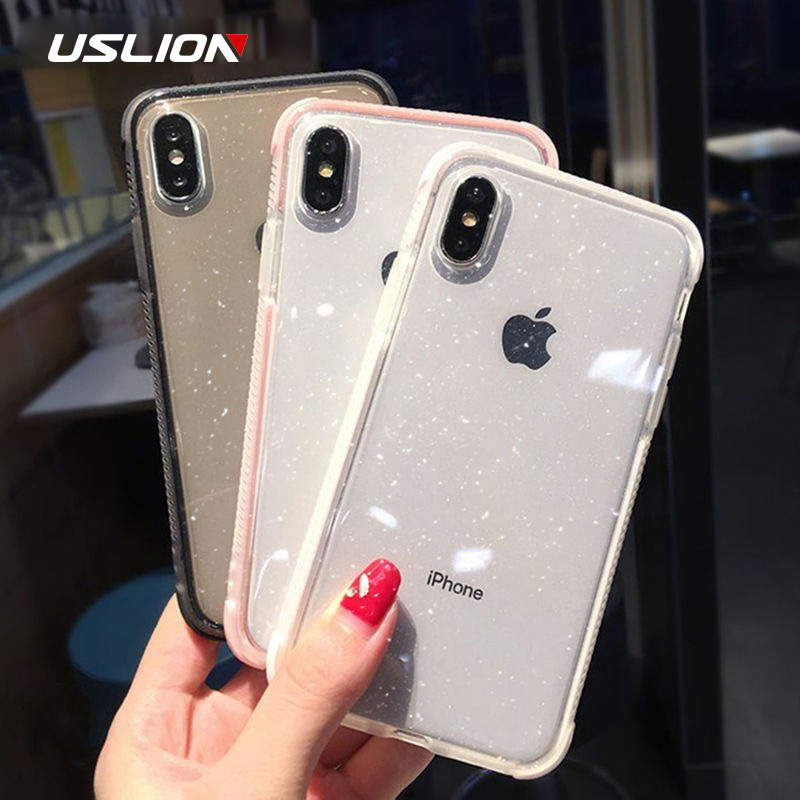 USLION Glitter Powder Phone Case For iPhone XS Max XS X Shockproof Transparent Soft TPU Bling Cover for iPhone 7 6 S 8 Plus Case(China)