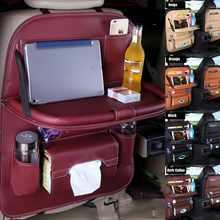Car Seat Back Leather Kids Organizer Tidy Multi Pocket Storage Bag Travel Table Drinks Stand Cup Holder Desk Tray Foldable Shelf