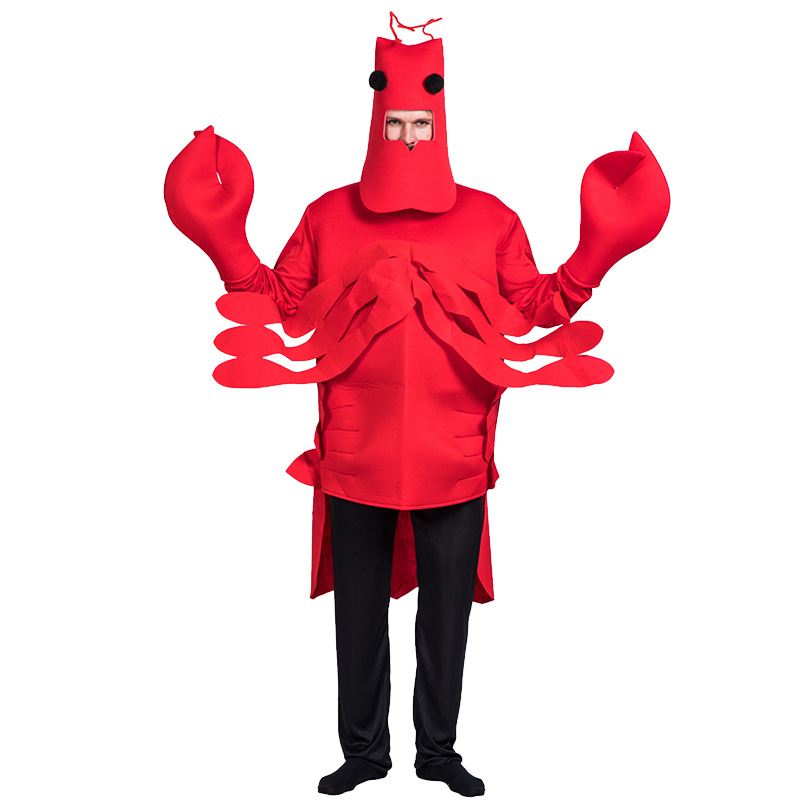 Funny Lobster Costume For Adult Red Sea Animal Cosplay Halloween Costume For Adult Carnival Performance Party Jumpsuit Clothes