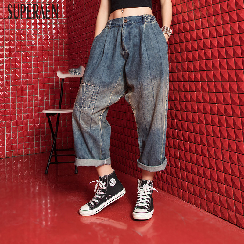 SuperAen 2019 Summer New Fashion Women Jeans Loose Pluz Size Wild Ladies Jeans Fashion Casual Europe Ladies Jeans