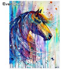 Evershine Animals Paint With Diamonds Full Square Diamond Embroidery Full Display Horse Picture Of Rhinestones Mosaic Home Decor(China)
