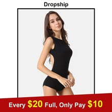 Buy Streetwear Bodysuit Womens Rompers Jumpsuit Sexy Bodysuits Bodycon Overalls Sleeveless 2019 Summer Black Skinny Cotton Halter