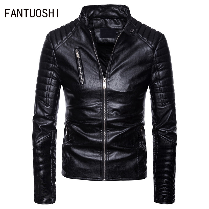 New Autumn And Winter Men's Leather Jacket Europe And America Leisure Motorcycle Leather Jacket Multi-zippers Men Coat Slim