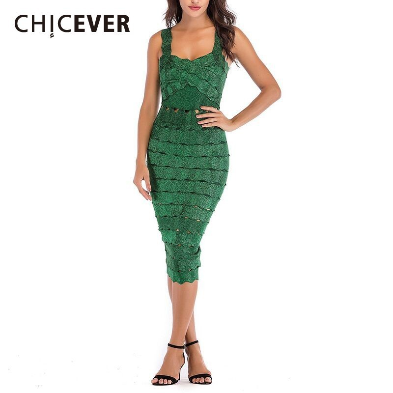 CHICEVER Sexy Off Shoulder Hollow Out Dresses For Women Square Collar Spaghetti Strap High Waist Sheath Dress Female Fashion