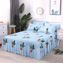 Home Textiles Plant Cactus Non-slip Bedspread Bed Skirt Twin/full/queen/king Size 3pcs Printing Bedding Bed Cover Pillowcases(China)