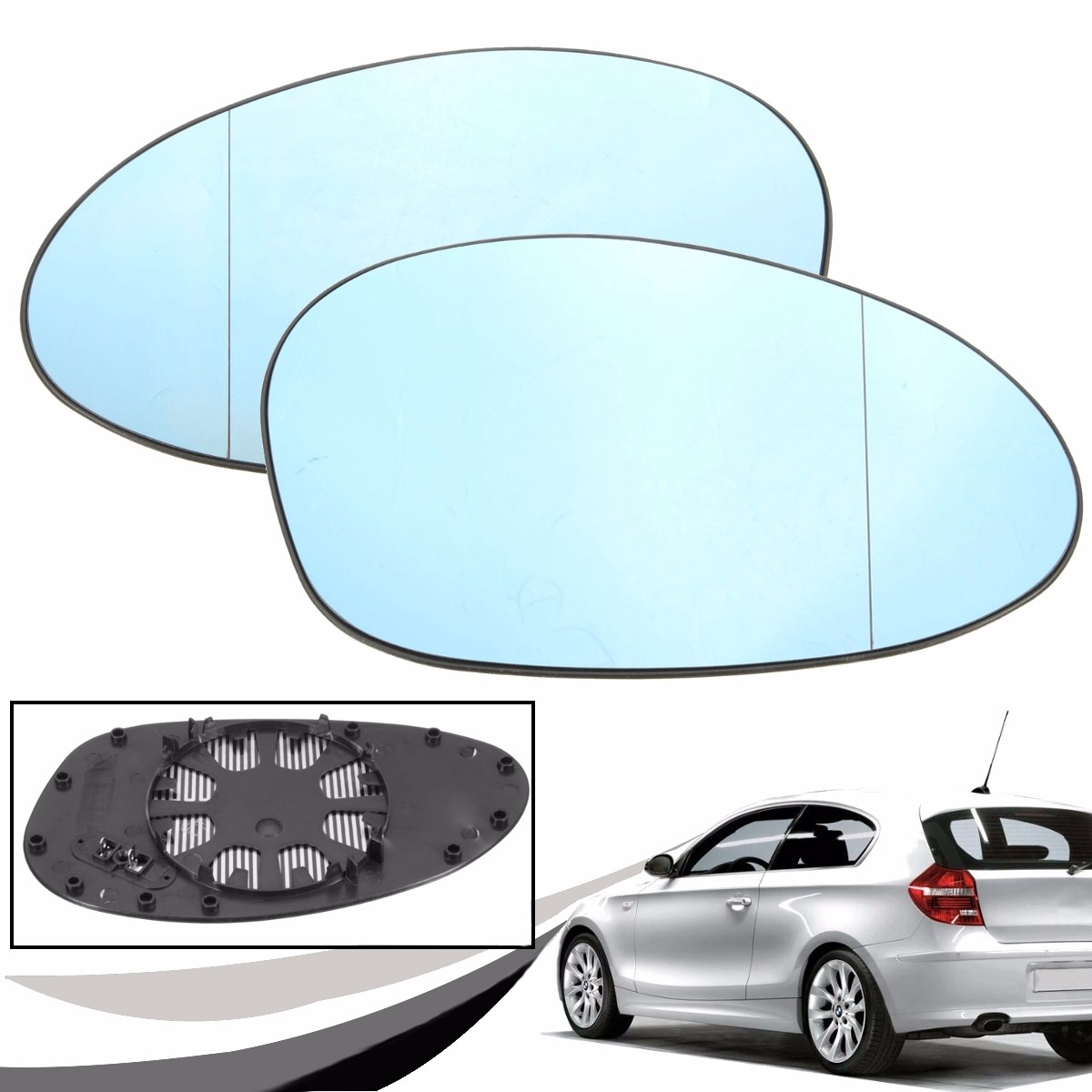 Left Passenger Side WIDE ANGLE WING DOOR MIRROR GLASS For BMW 1 Series E81 04-10