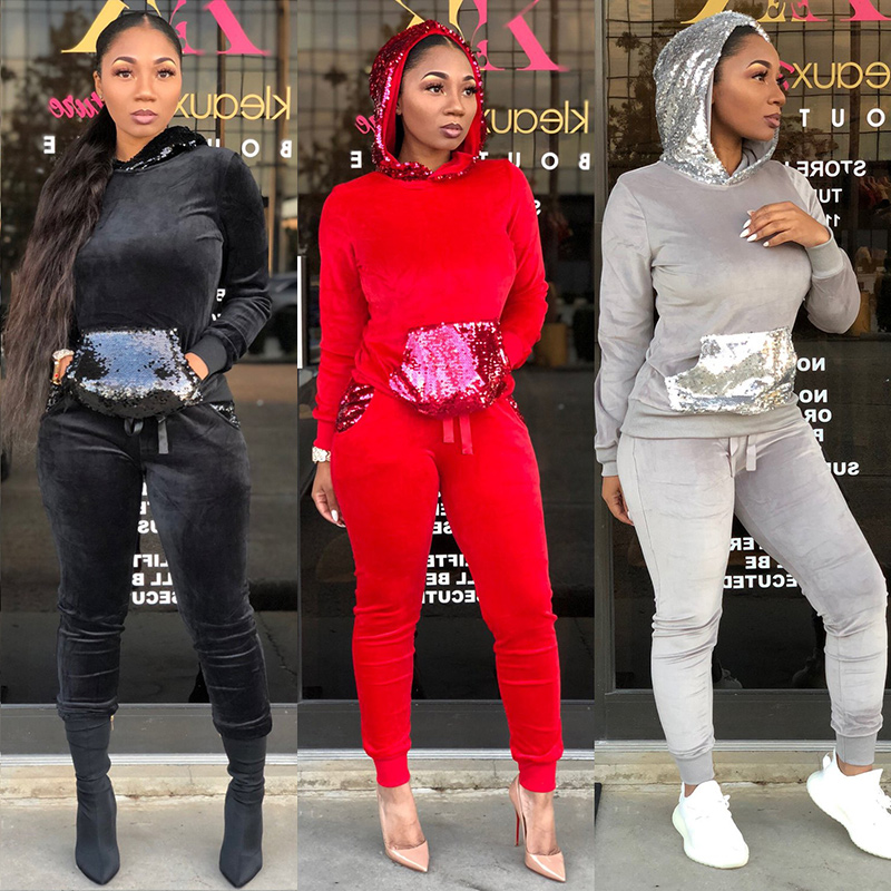 Velvet TWO PIECE SET Hoodies Female Tracksuit Winter Clothes Long Sleeve Sequin Suit Velour Joggers Women Sweatsuits Plus Size formal wear