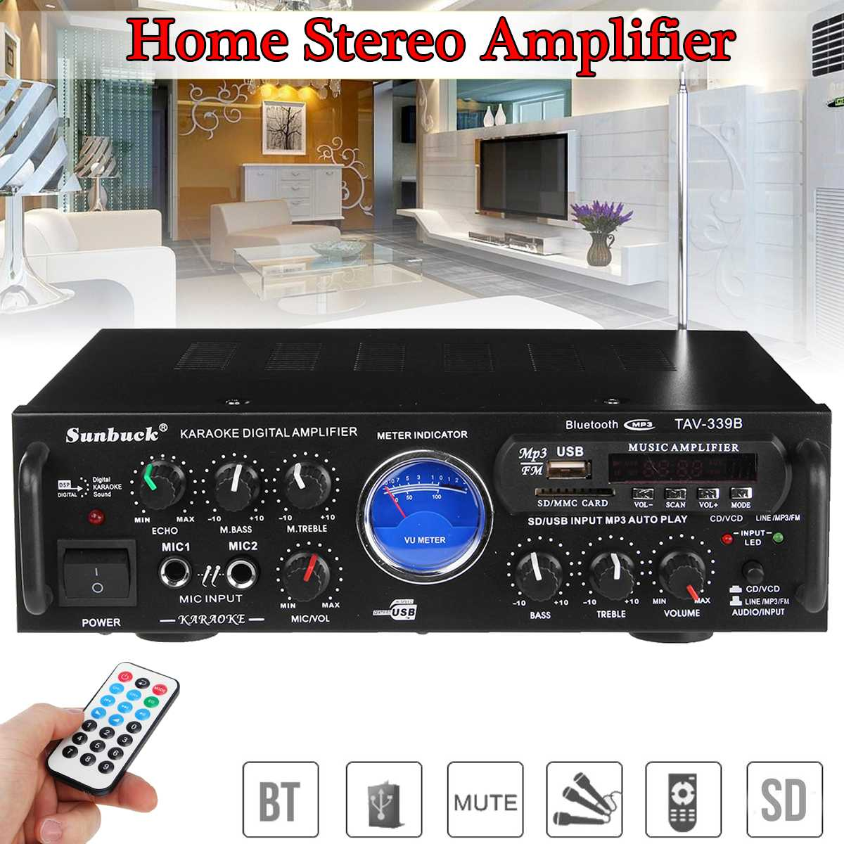 Digital bluetooth Home Stereo Audio Power Amplifier USB SD Hi-Fi Karaoke Home