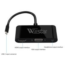 Wiistar Тип usb c к HDMI VGA Аудио адаптер USB 3,1 к VGA HDMI 3,5 мм 1 в 3 выход для ноутбука Macbook huawei mate 10/20 P20(China)