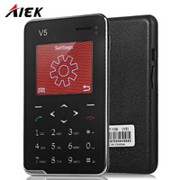 AIEK/AEKU V5 1.8 inch Ultra-thin Quad Band Card Phone Bluetooth 3.0 FM Audio Player